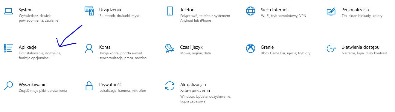 menu start ustawienia aplikacje