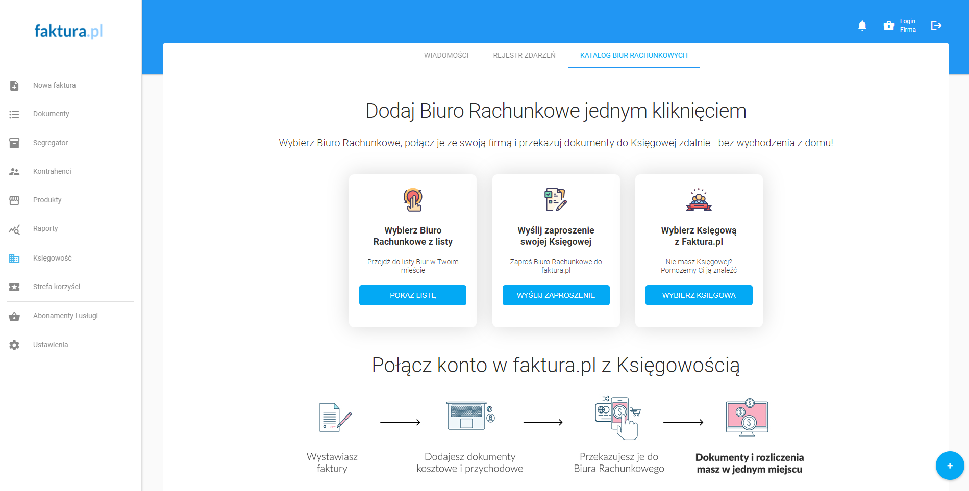 Dodawanie biura rachunkowego w faktura.pl