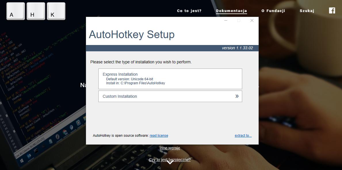 Instalowanie AutoHotkey